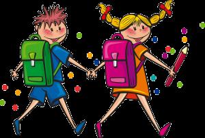 Deček in deklica na poti v šolo