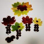 Slika iz listov, kostanja in ježic